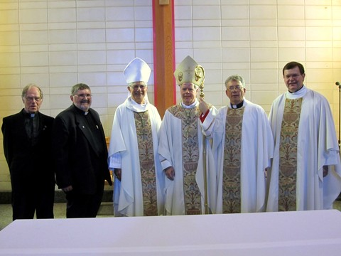 L-R:Father John Buis, Deacon Robert Wood, Bishop Anthony Tonnos, Bishop Gerard Bergie, Father Michael Basque, Monsignor Wayne Kirkpatrick, immediately following 50th Anniversary Mass