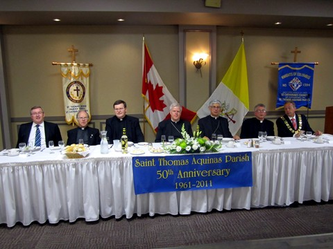 L-R: MPP St. Catharines, Jim Bradley, Father John Buis, Monsignor Wayne Kirkpatrick, Bishop Gerard Bergie, Bishop Anthony Tonnos, Father Michael Basque, Brian McMullan, Mayor of St. Catharines